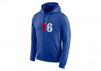 NIKE NBA PHILADELPHIA 76ERS LOGO HOODIE RUSH BLUE