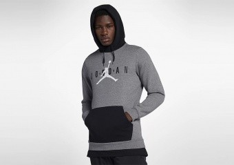 NIKE AIR JORDAN SPORTSWEAR JUMPMAN AIR FLEECE PULLOVER CARBON HEATHER