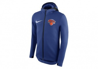 NIKE NBA NEW YORK KNICKS THERMAFLEX SHOWTIME HOODIE RUSH BLUE