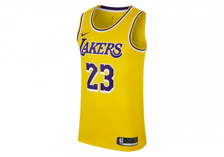 NIKE NBA LOS ANGELES LAKERS LEBRON JAMES SWINGMAN ROAD JERSEY AMARILLO