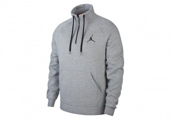 NIKE AIR JORDAN JUMPMAN 1/2 ZIP FLEECE TOP CARBON HEATHER