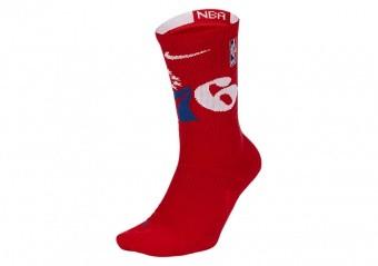 NIKE NBA PHILADELPHIA 76ERS ELITE CREW SOCKS UNIVERSITY RED