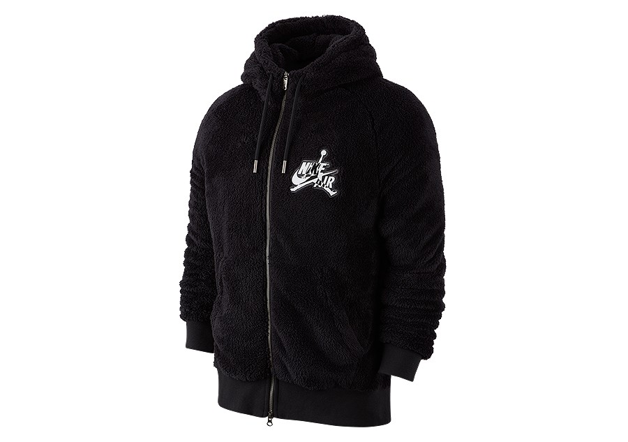 NIKE AIR JORDAN WINGS SHERPA SOLID FULL ZIP HOODIE BLACK per