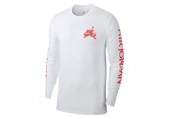 NIKE AIR JORDAN CLASSICS LONG SLEEVE CREW TEE WHITE