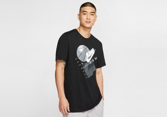 NIKE AIR JORDAN JUMPMAN GRAPHIC BASKETBALL CREW TEE BLACK