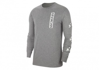 NIKE AIR JORDAN JUMPMAN CLASSICS LONG-SLEEVE CREW TEE CARBON HEATHER
