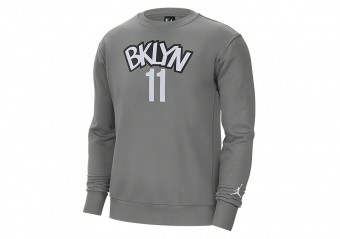 NIKE NBA BROOKLYN NETS KYRIE IRVING FLEECE CREW HOODIE DARK STEEL GREY
