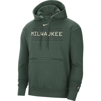 NIKE NBA MILWAUKEE BUCKS COURTSIDE PULLOVER HOODIE